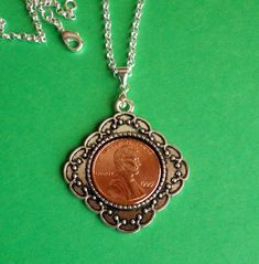 1995 21st Birthday Pendant, 1 nickle Necklace, President Lincoln Coin, Sterling… 25th Birthday, 25th Anniversary, Lincoln, Antique Silver, Irish, Coins, 21st, Pendant Necklace, Jewellery