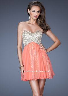 La Femme 19452 Hot Coral Homecoming Dress Online