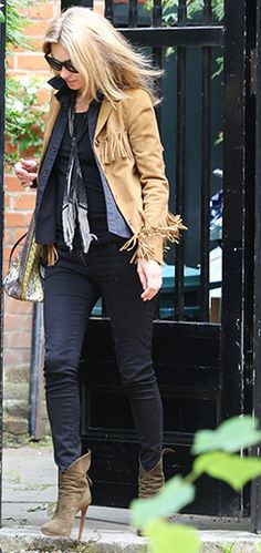 Kate Moss, Saint Laurent jacket, Alaia boots