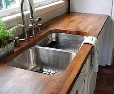 cut and stain Ikea butcher block countertops (this and that). I have butcher block countertops that need some TLC. I think I found my next project Home Diy, Diy Butcher Block Countertops, Home, Home Kitchens, Kitchen Remodel, Sweet Home, Home Remodeling, House, Home Projects