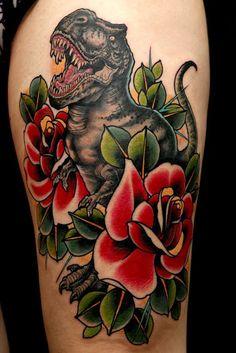 T-Rex traditional tattoo | dubuddha.org