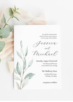 Wedding Invitations and Save the Date Cards Greenery Wedding Invitation Wedding Invitation template Wedding Invitations Elegantes, Green Wedding Invitations, Rustic Invitations, Printable Wedding Invitations, Invitation Set, Wedding Invitation Templates, Wedding Stationery, Event Invitations, Invitations Online