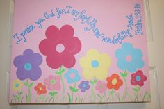 Fearfully and Wonderfully Made, Bible verse scripture 16x20 wall art, Nursery or Girl's room, flowers Psalm 139:14, Christening or baby gift. $49.99, via Etsy.