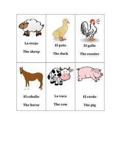 Free Spanish Farm Animal Printables for toddlers/preschoolers