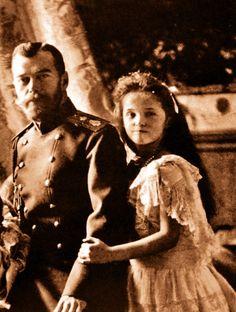 Tsar Nicholas II Of Russia with Olga In 1904