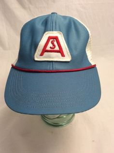 3e5e017d2b6 Awesome Vintage ASI 3 Tone Snapback Trucker Hat Blue   White w  Red String  Size L