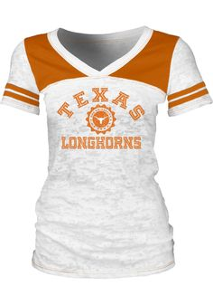 Texas Longhorns T-Shirt- Junior Women's White Burnout Pass Rush V-Neck http://www.rallyhouse.com/college/texas-longhorns/a/womens/b/t-shirts/c/short-sleeve?utm_source=pinterest&utm_medium=social&utm_campaign=Pinterest-TexasLonghorns