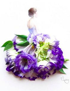 Malaysian artist Lim Zhi Wei (Love Limzy) adorns her watercolors with real flowers ~ This one, Sapphire, is blue eustoma blossoms  watercolor ~ ©Lim Zhi Wei http://lovelimzy.blogspot.com/2014/05/sapphire-blue-eustoma-and-watercolour.html