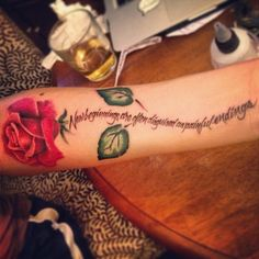"""Tattooed a Rose on my homegirl @sabrinasang chillin with @Jeni Gabler in NYC. New beginnings are often disguised as painful endings"""" (at NYC)"""