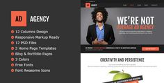 AdAgency PSD Template by RivaThemes Stylish PSD Template for agency and portfolio sites. Features: 12 Columns DesignResponsive Markup Ready 12 PSD Files Well organize