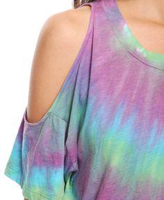 Tie Dye Cutout Top