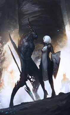The crusader and the Demon - Character Concept Art Dark Fantasy Art, Fantasy Kunst, Fantasy Artwork, Demon Artwork, Fantasy Inspiration, Character Inspiration, Character Art, Creature Concept, Creature Design