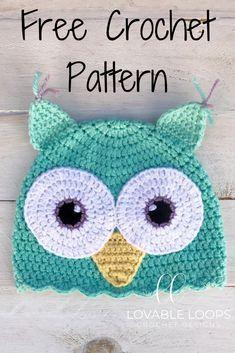 2f25524b949 Free Owl Hat crochet pattern. Sizes 0 3 months- adult.  owlhat