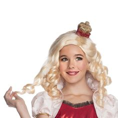 Kids Ever After High Apple White Costume Wig & Headpiece, Girl's, Yellow
