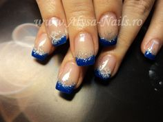 #nails #french #blue #snowflakes #glitter #acrylicpaint #winter