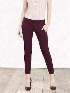 Nice color, I don't mind the ankle length: Sloan-Fit Faux-Leather Trim Ankle Pant | Banana Republic