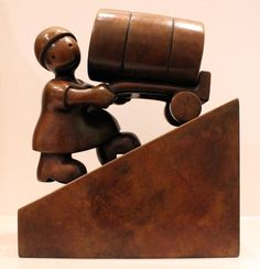 TOM OTTERNESS, Woman with Oil Barrel, 2007 Bronze, 13 x 6 x 9 inches