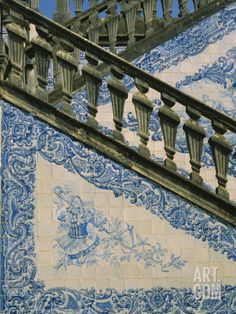 size: Photographic Print: Detail of External Staircase Decorated with Azulejos (Tiles), Algarve, Portugal by Nedra Westwater : Artists Portuguese Culture, Portuguese Tiles, Portugal, Algarve, Saint Marin, External Staircase, Patio Tiles, Baroque Architecture, Voyage Europe