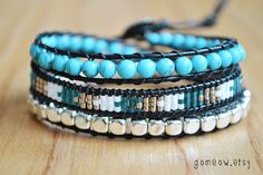 Leather Wrap Bracelet // Friendship Bracelet // by Gomeow on Etsy, $32.50