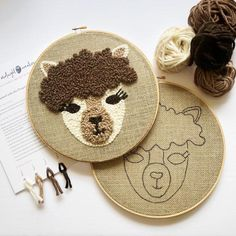 Alpaca punch needle kit, llama punch needle diy gift for her Looking for your next punch needle project? Make this alpaca hoop using alpaca wool! This diy llama Cute Embroidery Patterns, Modern Embroidery, Embroidery Hoop Art, Punch Needle Kits, Punch Needle Patterns, Crochet Shrug Pattern, Crochet Patterns, Blanket Crochet, Rug Hooking