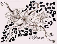 animal print tattoos | Lily And Leopard Print Tattoo Picture