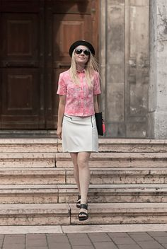 pink palm print shirt biker skirt tassel clutch hat cuban tropical caribbean look EPIC STREET STYLE by Gabriella