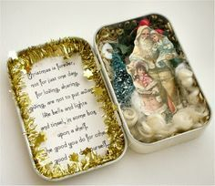 Her Creative Spirit: Altered Tin and some tags Noel Christmas, All Things Christmas, Vintage Christmas, Christmas Ornaments, Tin Can Crafts, Christmas Projects, Holiday Crafts, Altered Tins, Altered Art