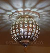 turkish moroccan mosaic hanging lamps light fixtures - Octagonal ceiling molding with punched metal lamp fixture