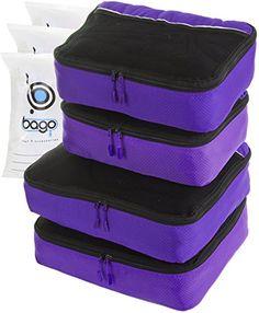 Travel Packing Cubes 4 piece Set for Travel  Plus 6pcs Organizer Bags Purple * Click image for more details.