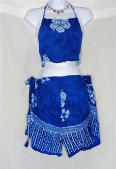 VIN & SUE FASHIONS TAHITI TIE WRAP SARONG BEACH COVER UP BLUE ISLAND FLOWERS #Handmade #CoverUp