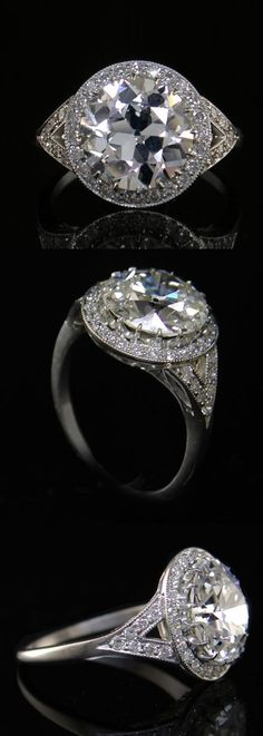 An Art Deco platinum and diamond ring, 1930s. Centring an old European cut diamond weighing 3.62 carats within a halo of small old brilliant-cut diamonds. #ArtDeco #ring
