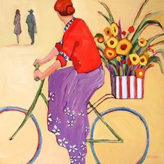 Daily Painting, Eyes on the Road, female cyclist with flowers, painting by artist Carolee Clark