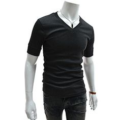 (GTS09-CHARCOAL) Slim Fit Leather Patched V-neck Short Sleeve Tshirts