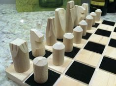 Chess set only hand made board not included. by JELucky on Etsy, $27.20