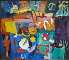""" Grace Hartigan: Billboard, 1957 - oil on canvas (The Minneapolis Institute of Arts) "" Elements Of Art Line, Artist Birthday, Expressionist Artists, Thing 1, Museum Of Modern Art, Contemporary Paintings, American Artists, Abstract Art, Abstract Paintings"
