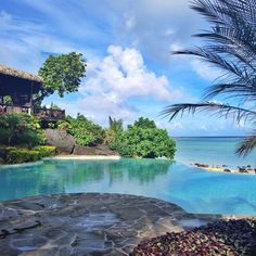 Infinity pool overlooking the beach. Ahhh, yes please. Pacific, Resort, Aitutaki, Cook Islands. Also, resort featured in Air New Zealand's Sports Illustrated model safety vid.
