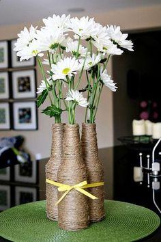 DIY home decor crafts :DIY Vase : (diy tutorial giveaway) upcycled izze bottle flower vase wedding center peices? Diy Home Decor Projects, Decor Crafts, Diy Crafts, Bridal Shower Decorations, Wedding Decorations, Wedding Centerpieces, Bottle Decorations, Shower Centerpieces, Sunflower Centerpieces