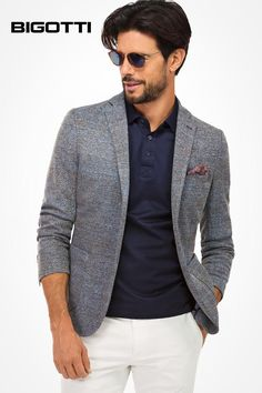 Men's Shirts, Suits, Blazers and Shoes Boy Fashion, Mens Fashion, Fashion Ideas, Polo Outfit, Mens Attire, Business Casual Outfits, Sports Jacket, Suit And Tie, Blazers For Men
