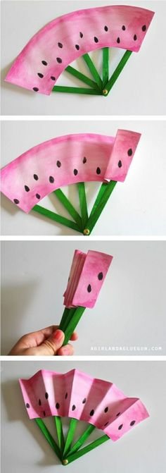 fruit fans -a fun kids crafts These DIY fruit fans keep parents cool and kids entertained. Try out this craft this weekend!These DIY fruit fans keep parents cool and kids entertained. Try out this craft this weekend! Fun Crafts For Kids, Summer Crafts, Cute Crafts, Crafts To Do, Projects For Kids, Diy For Kids, Craft Projects, Weekend Crafts, Children Crafts