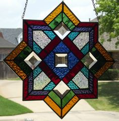 """Stained Glass Window Panel """"Mission Star"""" 