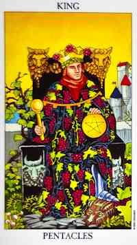 The King of Pentacles is a lot like King Midas. Everything he touches turns to gold. He is a shining example of financial stability, with wealth and experience coming easily to him and to share with everyone around him. This is a man who has reached the pinnacle of his financial power and influence and is able to rest assured of his continued prosperity. He is able to accomplish anything he wants because he has already proven himself.