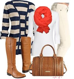 """""""Navy Stripes with a Coral Pop"""" by styleofe on Polyvore"""