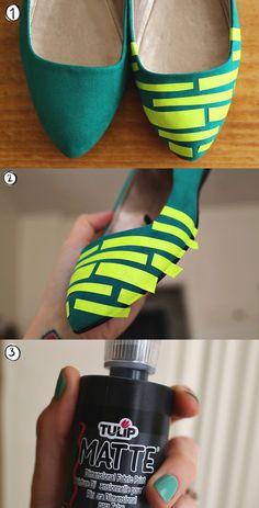 Boa ideia para renovar o visual daqueles sapatos confortáveis...