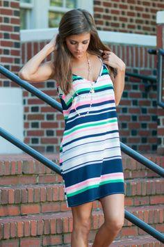 I'm The Stripe Dress, Navy-Pink