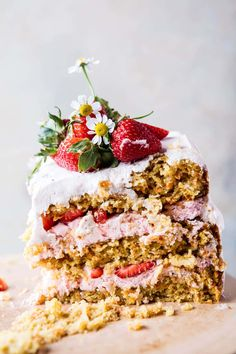 Strawberry Coconut Carrot Cake with Mascarpone Buttercream