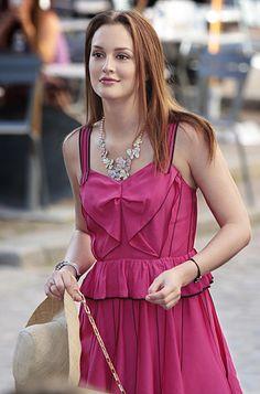 "Season 4, Episode 2: ""Double Identity""  Blair Waldorf (Leighton Meester) wears a Marc Jacobs dress, Siman Tu necklace, Swarovski purse, M.C.L. bracelet and Christian Louboutin heels."