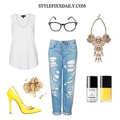 OUTFIT OF THE DAY: LION COIN NECKLACE, BLACK FRAME GLASSES, RIPPED JEANS & YELLOW POINTED HEELS