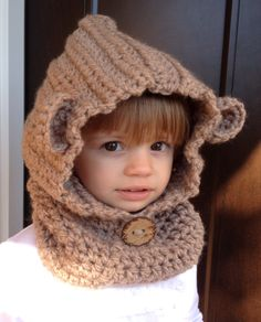 Children's bear hat bear cowl children's hooded by TheHooknNook