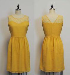 LORRAINE (Mustard) : Mustard yellow chiffon dress, lace sweetheart neckline, vintage inspired, party, day, bridesmaid by mfandj on Etsy https://www.etsy.com/listing/206074667/lorraine-mustard-mustard-yellow-chiffon