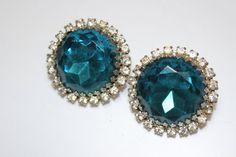 Vintage Blue Rhinestone Earrings by CaityAshBadashery on Etsy, $6.95